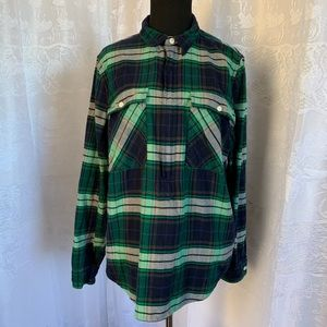 J. Crew Plaid Flannel pullover Long Sleeve Top M